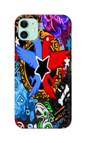 For Apple iPhone 11 Printed Mobile Case Back Cover Pouch (Colorful Eagle)