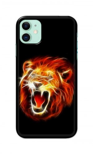 For Apple iPhone 11 Printed Mobile Case Back Cover Pouch (Lion Fire)