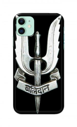 For Apple iPhone 11 Printed Mobile Case Back Cover Pouch (Indian Army Camouflage Balidan Badge)