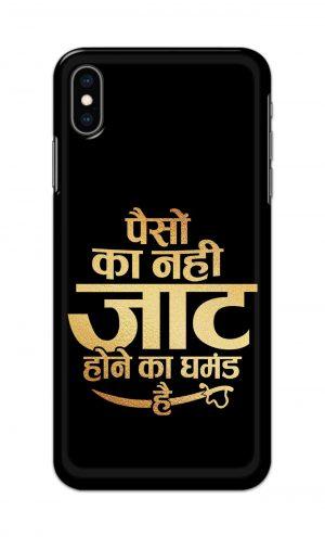 For Apple iPhone XS Max Printed Mobile Case Back Cover Pouch (Paison Ka Nahi Jaat Hone Ka Ghamand Hai)