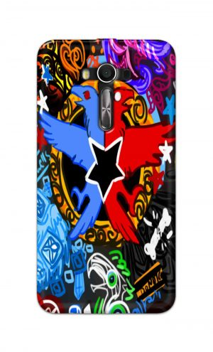 For Asus Zenfone 2 Laser ZE550KL Printed Mobile Case Back Cover Pouch (Colorful Eagle)