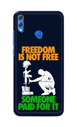 For Huawei Honor 8X Printed Mobile Case Back Cover Pouch (Freedom Is Not Free)