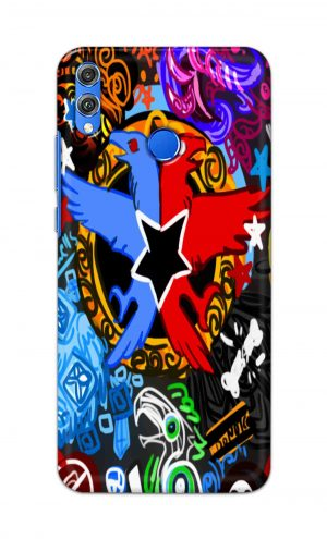 For Huawei Honor 8X Printed Mobile Case Back Cover Pouch (Colorful Eagle)