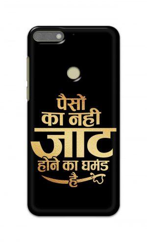 For Huawei Honor 7C Printed Mobile Case Back Cover Pouch (Paison Ka Nahi Jaat Hone Ka Ghamand Hai)