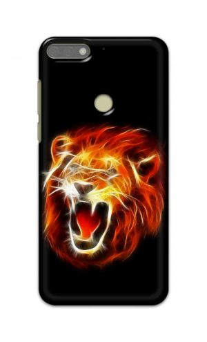 For Huawei Honor 7C Printed Mobile Case Back Cover Pouch (Lion Fire)