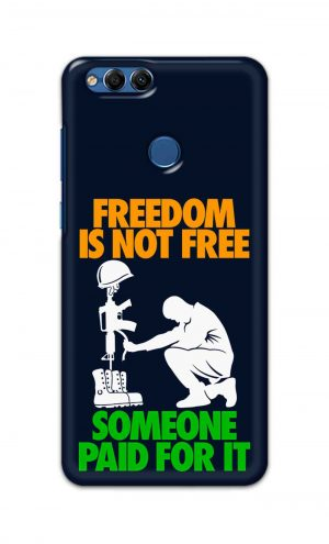 For Huawei Honor 7X Printed Mobile Case Back Cover Pouch (Freedom Is Not Free)