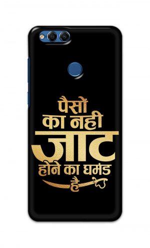 For Huawei Honor 7X Printed Mobile Case Back Cover Pouch (Paison Ka Nahi Jaat Hone Ka Ghamand Hai)