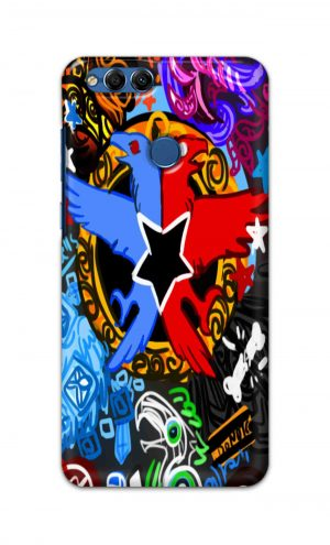 For Huawei Honor 7X Printed Mobile Case Back Cover Pouch (Colorful Eagle)