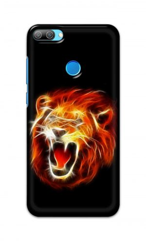 For Huawei Honor 9N Printed Mobile Case Back Cover Pouch (Lion Fire)