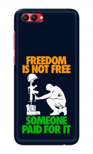 For Huawei Honor V10 Printed Mobile Case Back Cover Pouch (Freedom Is Not Free)