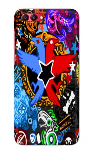 For Huawei Honor V10 Printed Mobile Case Back Cover Pouch (Colorful Eagle)