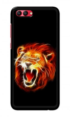 For Huawei Honor V10 Printed Mobile Case Back Cover Pouch (Lion Fire)