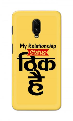 For OnePlus 6t Printed Mobile Case Back Cover Pouch (My Relationship Status)