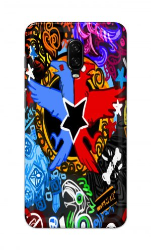 For OnePlus 6t Printed Mobile Case Back Cover Pouch (Colorful Eagle)