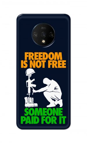 For OnePlus 7t Printed Mobile Case Back Cover Pouch (Freedom Is Not Free)