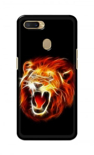 For Oppo A5s Printed Mobile Case Back Cover Pouch (Lion Fire)