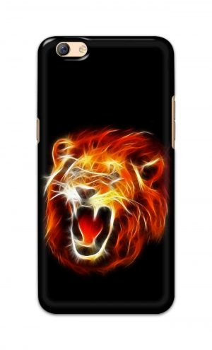 For Oppo F3 Plus Printed Mobile Case Back Cover Pouch (Lion Fire)