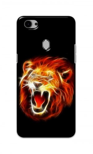 For Oppo F7 Printed Mobile Case Back Cover Pouch (Lion Fire)
