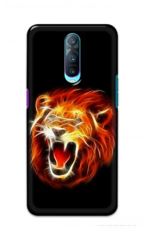 For Oppo R17 Pro Printed Mobile Case Back Cover Pouch (Lion Fire)