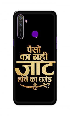 For Realme 5i Printed Mobile Case Back Cover Pouch (Paison Ka Nahi Jaat Hone Ka Ghamand Hai)