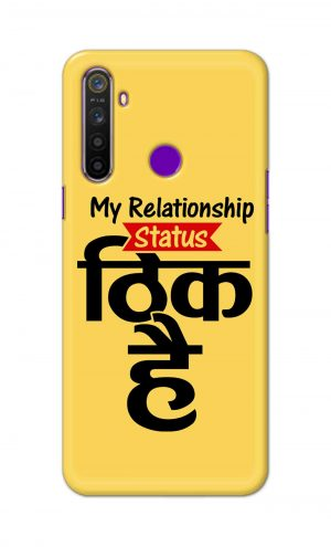 For Realme 5i Printed Mobile Case Back Cover Pouch (My Relationship Status)