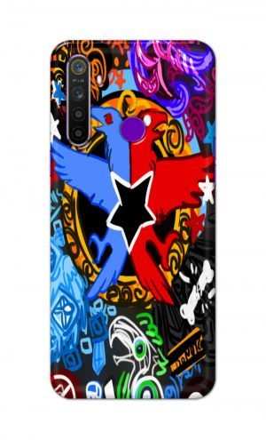 For Realme 5i Printed Mobile Case Back Cover Pouch (Colorful Eagle)