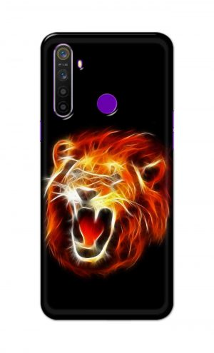 For Realme 5i Printed Mobile Case Back Cover Pouch (Lion Fire)