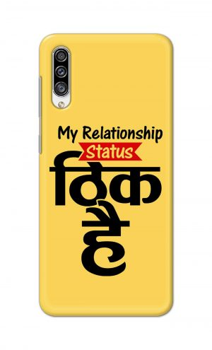 For Samsung Galaxy A30s Printed Mobile Case Back Cover Pouch (My Relationship Status)