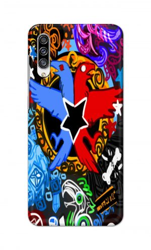 For Samsung Galaxy A30s Printed Mobile Case Back Cover Pouch (Colorful Eagle)