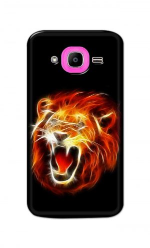 For Samsung Galaxy J2 Pro Printed Mobile Case Back Cover Pouch (Lion Fire)
