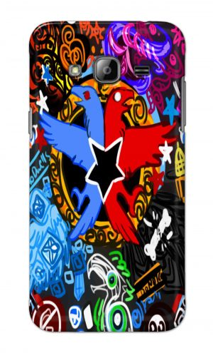 For Samsung Galaxy J3 Printed Mobile Case Back Cover Pouch (Colorful Eagle)