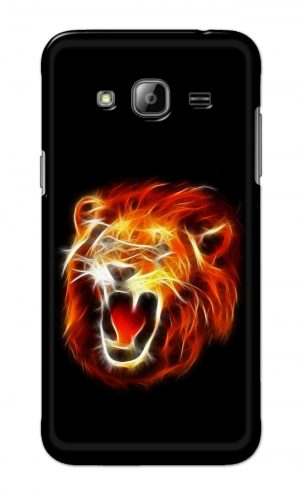 For Samsung Galaxy J3 Printed Mobile Case Back Cover Pouch (Lion Fire)