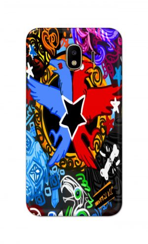 For Samsung Galaxy J4 Printed Mobile Case Back Cover Pouch (Colorful Eagle)