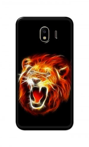 For Samsung Galaxy J4 Printed Mobile Case Back Cover Pouch (Lion Fire)