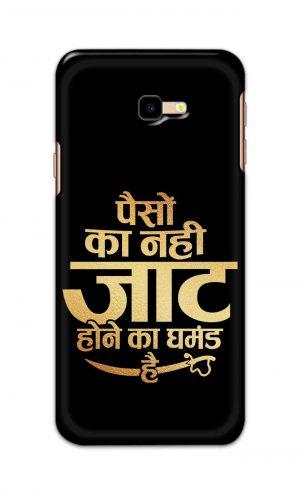 For Samsung Galaxy J4 Plus Printed Mobile Case Back Cover Pouch (Paison Ka Nahi Jaat Hone Ka Ghamand Hai)