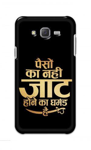 For Samsung Galaxy J7 Printed Mobile Case Back Cover Pouch (Paison Ka Nahi Jaat Hone Ka Ghamand Hai)