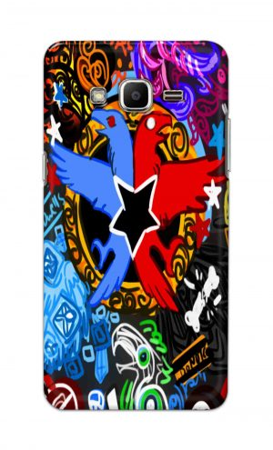 For Samsung J2 Printed Mobile Case Back Cover Pouch (Colorful Eagle)