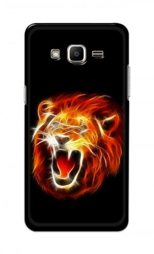 For Samsung J2 Printed Mobile Case Back Cover Pouch (Lion Fire)