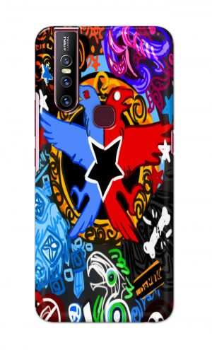 For Vivo V15 Ptinted Mobile Case Back Cover Pouch (Colorful Eagle)