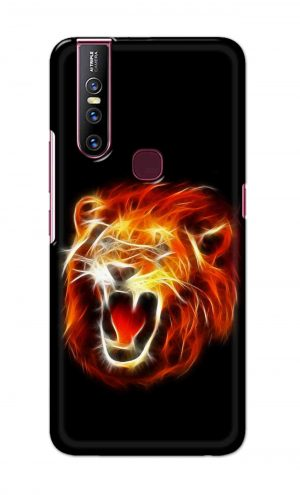 For Vivo V15 Ptinted Mobile Case Back Cover Pouch (Lion Fire)