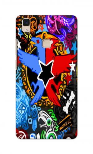 For Vivo V3 Ptinted Mobile Case Back Cover Pouch (Colorful Eagle)