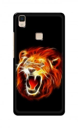 For Vivo V3 Ptinted Mobile Case Back Cover Pouch (Lion Fire)