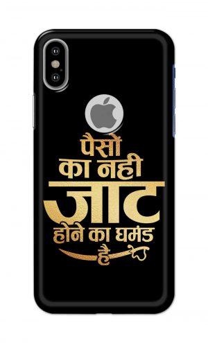 For Apple iPhone Xs Printed Mobile Case Back Cover Pouch (Paison Ka Nahi Jaat Hone Ka Ghamand Hai)