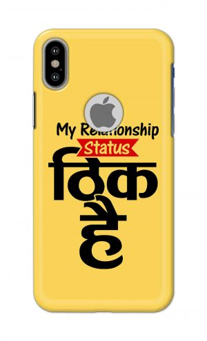 For Apple iPhone Xs Printed Mobile Case Back Cover Pouch (My Relationship Status)