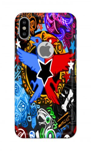 For Apple iPhone Xs Printed Mobile Case Back Cover Pouch (Colorful Eagle)