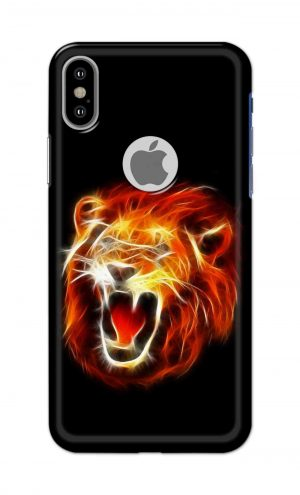 For Apple iPhone Xs Printed Mobile Case Back Cover Pouch (Lion Fire)